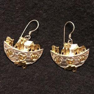 Vintage Sterling Silver Noah's Ark Earrings